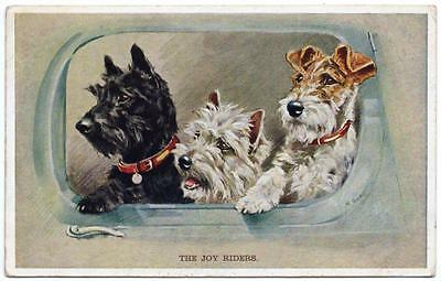1938   THE JOY RIDERS   Mabel Gear  Dog  Postcard
