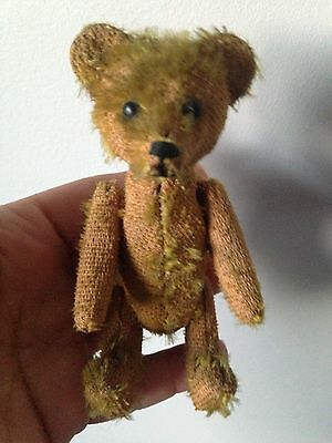 "Rare Miniature 5"" Vintage Schuco Mohair Perfume Bottle Bear Tattered No Reserve"