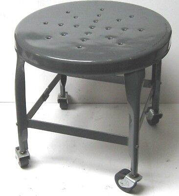 Vintage Toledo Metal Furniture Co. Uhl Steel Shop Work Stool W/casters Nice