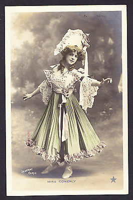 Miss Conerly Theatre Stage Actress Edwardian French postcard from Malta 1906 CPA