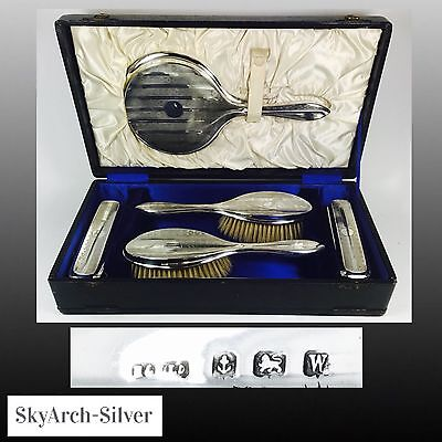 SOLID SILVER Grooming Set BIRMINGHAM 1921 Hasset & Harper MINT CONDITION 6 Piece