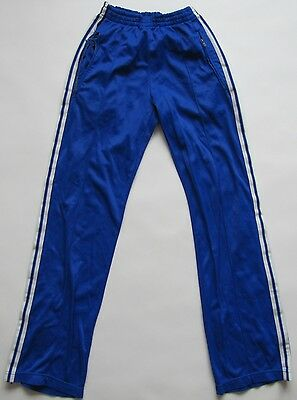 Adidas 1980s blue nylon trousers pants vintage shiny made in France Small/Medium