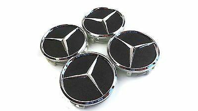 60 mm 4 x BLACK UNPOLISHED EFFECT CAR WHEEL CENTER HUB CAP BADGE FIT MERCEDES 24