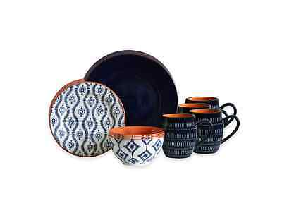 Dinnerware Set 16 Piece Baum Tangiers in Navy Stoneware Dinner Service Set