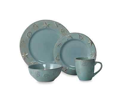 Dinnerware Set 16 Piece Thompson Pottery Dusty Blue Coastal Dinner Service Set