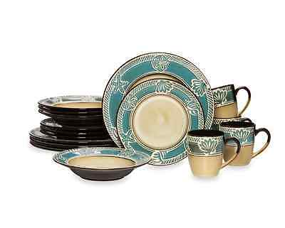 Dinnerware Set 16 Piece Montego Ocean Blue Stoneware Dinner Service Set