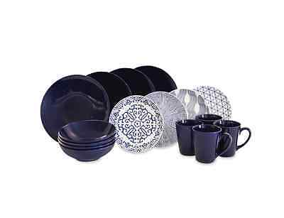 Dinnerware Set 16 Piece Baum Brothers Blue and White Ceramic Dinner Service Set