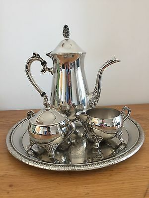 Vintage International Four Piece Silver Plated Coffee Set with Tray