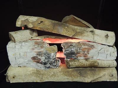 "Vintage Electric Glowing Real Wood Fireplace Logs Insert 24"" Fake Faux Fire Lamp"