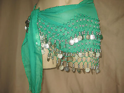 belly dance hip scarf green adjustable chiffon USA seller fast ship pre-loved OS