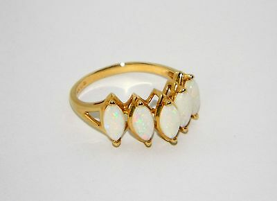 ** Stunning VINTAGE Estate 5-STONE FIRE OPAL 14K GOLD RING  **
