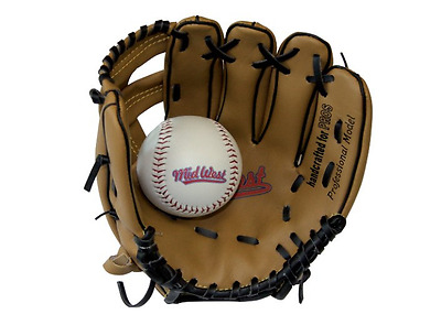 Kids Baseball Glove and Ball Set PVC Midwest Professional Model 9 Inch Open Back