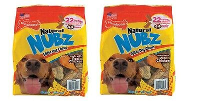 Nylabone Natural NUBZ Edible Dog Chews 22 Count, 2.6 lb Bag(2 pack)