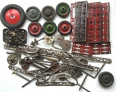 Vintage Trix Construction Toys Selection Of Parts Strips Gears Etc Meccano