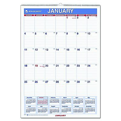 "New AT-A-GLANCE Wall Calendar 2017, Monthly, 12 x 17"", Ruled, Wirebound"