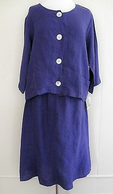 NWT Habitat Clothes to Live In Skirt Outfit purple linen Large Ladies $142