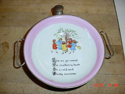 """Old EXCELLO Porcelain Child's Warming Dish """"Here we go round the mulberry bush"""""""