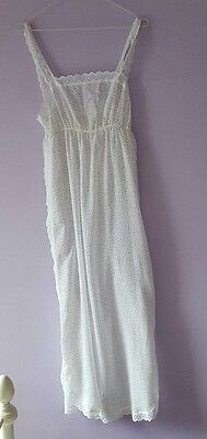 Vintage White Spotted Lace Trimmed Maxi  Slip Dress Nightie S 8 10