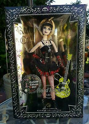 NRFB Gold Label HARD ROCK CAFE Barbie DOLL 2008 w Ltd Exclusive HRC Pin & Guitar