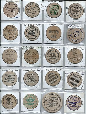 20 All Different Wooden Nickels Lot #1