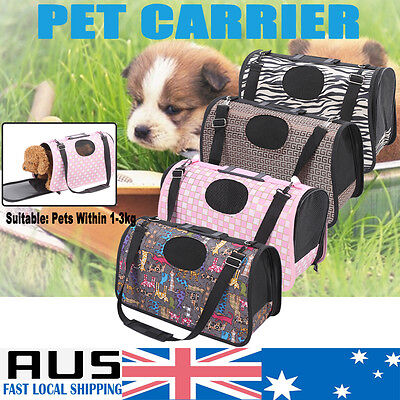 Pet Carrier Puppy Dog Cat Soft Crate Cage Portable Kennel Folding Travel Bag M