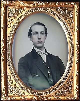 Handsome Young Man Signed S.c. Dustin Keene, New Hampshire 1/9 Ambrotype A127