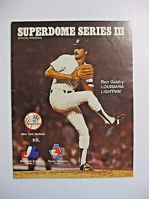 1982 MLB NY YANKEES v EXPOS & RANGERS BASEBALL PROGRAM @ NEW ORLEANS  RON GUIDRY