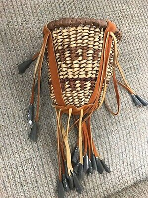 Large Apache Handmade Willow/Bark Strip Burden Basket with Leather & Tin Beads