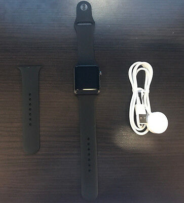 Apple Watch Series 1 42mm Space Gray Aluminum Case Black Sport Band MP032LL