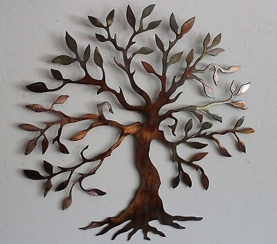 METAL WALL ART Sculpture Large Living Home Decor Brown Copper Tree ...
