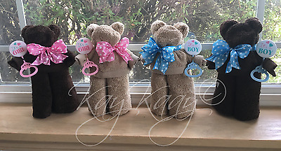 Handmade Terry Cloth TEDDY BEAR TOWEL Baby Shower Gift IT'S A BOY GIRL Brown/Tan