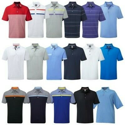 Footjoy Hombre Elástico Polo - FJ Prodry Tech Resistente Stripe Top Tee de Golf