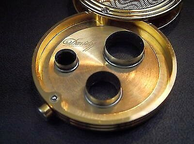 New Davidoff Round Cigar Cutter Punch Boxed Mint Condition In Gold Finish