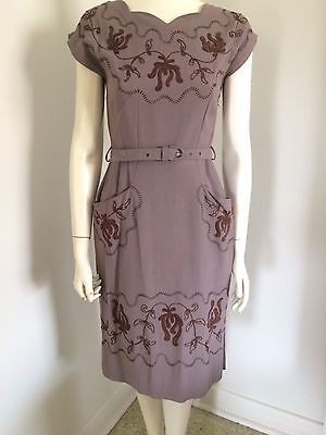 Original Vintage  40s 50s Embroidered Swing Dress , Rockabilly Pinup