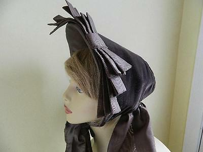 Antique Victorian Brown Velvet and Silk Bonnet late 19th Century