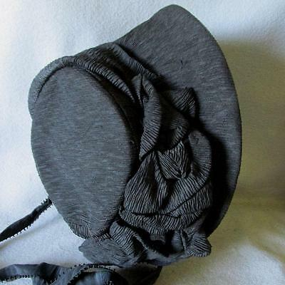 Antique Victorian 1860-1870's Silk Crepe Bonnet
