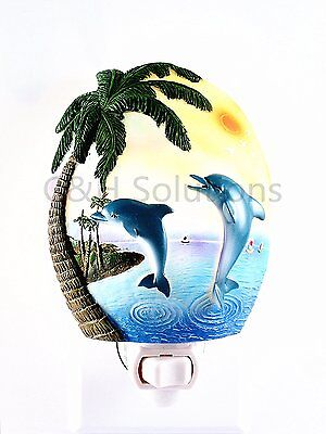 Two Dolphin Swimming, Sunshine Over Head In The Paradise Night Light