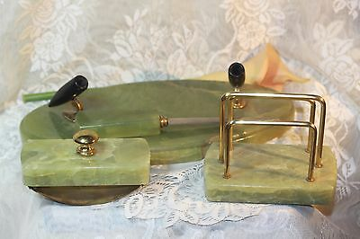 Antique Vintage 4 Piece Green Marble & Brass Desk Set Letter Opener & Holder