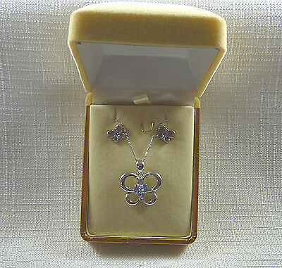 1.14ct Tanzanites Solid Sterling Silver Butterfly Necklace & Earring Set