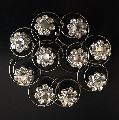 Set of 10 -- Hair Jewels / Accessories Crystal Rhinestone Flower Pin Clip