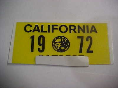 1972 california license plate registration yom sticker for the plates