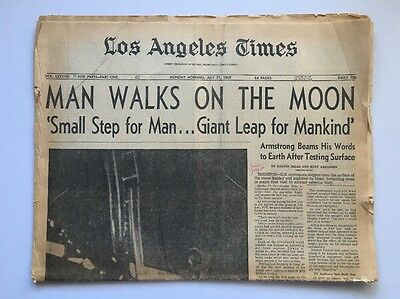 1969 July 21 Newspaper-Los Angeles LA Times-Space Armstrong Apollo 11 Walks Moon