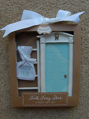 New Mud Pie Blue Tooth Fairy Door 3 Piece Gift Set Resin Wall Decor