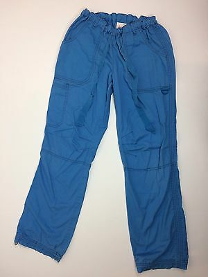 Koi Kathy Peterson Blue Lindsey Cargo Scrub Pants Size S Drawstring Cuffs Bottom