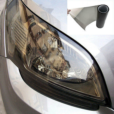 "For Car Headlight Taillight Fog Wrap Cover 12"" x 48"" Light Black Vinyl Film Tint"