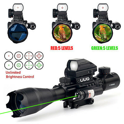 UUQ 4-16x50EG Tactical Rifle Scope W/ GREEN Laser & Holographic dot sight