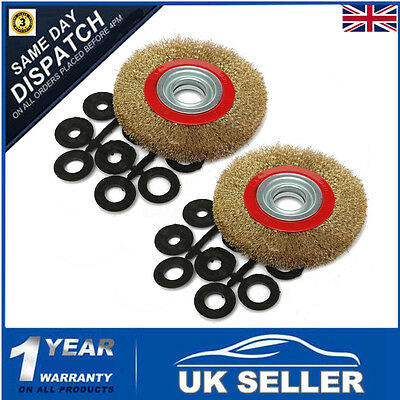 2x 6″ 150mm Wire Wheel Fine Brush Wheel With 20pc Adaptor Ring For Bench Grinder
