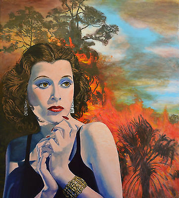 Hedy Lamarr retro Original Landscape painting on canvas bushfire Jane Ianniello