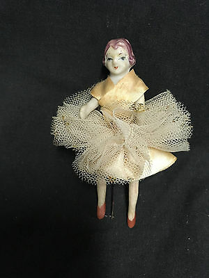Vintage Porcelain Doll, PIn cushion top, Lady