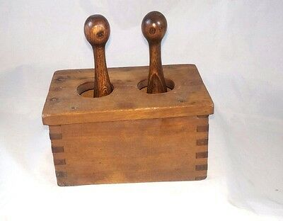 Antique Rare Unusual Wood Wooden Butter Mold Plant Design Art Two Handles